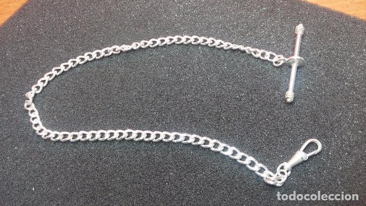 Recambios de relojes: Hermosa y bella leontina o cadena de plata para reloj de bolsillo antiguo, sobre 34 cms. - Foto 13 - 69799717