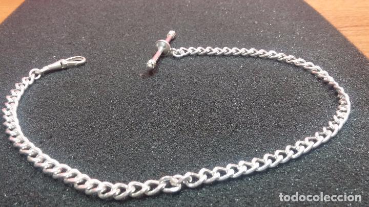 Recambios de relojes: Hermosa y bella leontina o cadena de plata para reloj de bolsillo antiguo, sobre 34 cms. - Foto 19 - 69799717