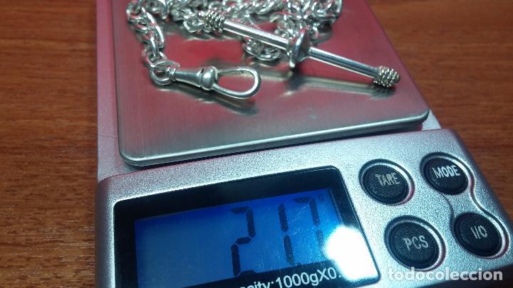 Recambios de relojes: Hermosa y bella leontina o cadena de plata para reloj de bolsillo antiguo, sobre 34 cms. - Foto 21 - 69799717