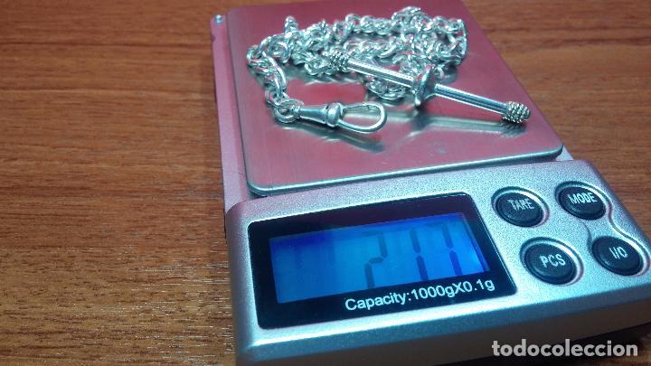 Recambios de relojes: Hermosa y bella leontina o cadena de plata para reloj de bolsillo antiguo, sobre 34 cms. - Foto 23 - 69799717