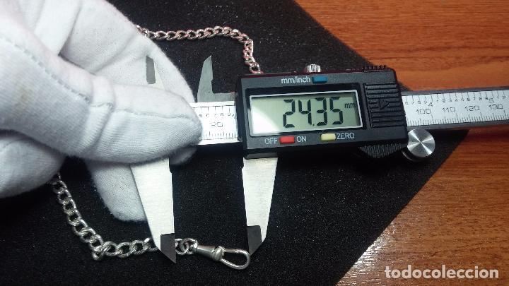Recambios de relojes: Hermosa y bella leontina o cadena de plata para reloj de bolsillo antiguo, sobre 34 cms. - Foto 26 - 69799717