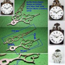 Recambios de relojes: UN PAR ACERO NUEVO AGUJAS DE CALIDAD PARA SIGLO XVII/ XVIII RELOJES MOREZ Y LINTERNA, REF 05. Lote 75464147