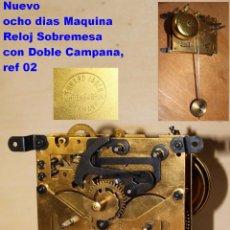 Recambios de relojes: NUEVO OCHO DIAS MAQUINA RELOJ SOBREMESA CON DOBLE CAMPANA, REF 02. Lote 88825004