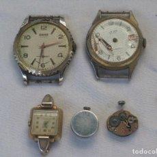Recambios de relojes: LOTE DE 5 RELOJES ANTIGUOS SUIZOS PARA RESTAURAR O PIEZAS. Lote 93289795