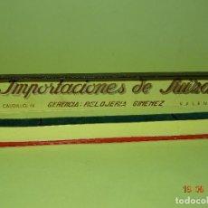 Recambios de relojes: ANTIGUA CAJA DE RELOJ SUIZO DE CASA VALENCIANA * IMPORTACIONES DE SUIZA * RELOJERIA GIMENEZ - 1940S.. Lote 95957427