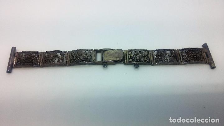 Recambios de relojes: Antigua correa o armis de plata maciza para reloj de pulsera - Foto 3 - 101950387