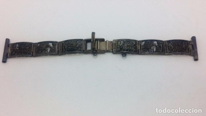 Recambios de relojes: Antigua correa o armis de plata maciza para reloj de pulsera - Foto 18 - 101950387