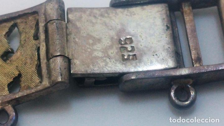 Recambios de relojes: Antigua correa o armis de plata maciza para reloj de pulsera - Foto 25 - 101950387