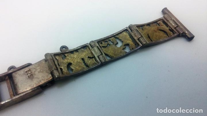 Recambios de relojes: Antigua correa o armis de plata maciza para reloj de pulsera - Foto 26 - 101950387