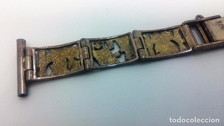 Recambios de relojes: Antigua correa o armis de plata maciza para reloj de pulsera - Foto 28 - 101950387
