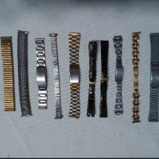 Recambios de relojes: LOTE 10 CORREAS METÁLICAS Y 2 DE CUERO. Lote 74613167