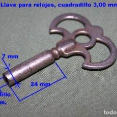 Recambios de relojes: ANTIGUO LLAVE PARA RELOJES, CUADRADILLO 3,00 MM, REF 77. Lote 104304239