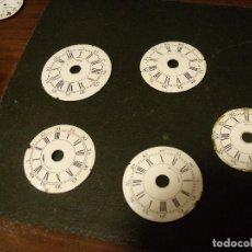 Recambios de relojes: 5 ESFERAS DE PORCELANA PARA DESPERTADOR DE OFICIAL AÑO 1910- LOTE 91. Lote 114588451