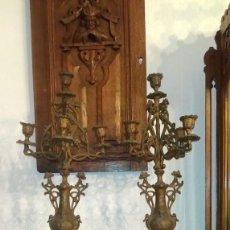 Recambios de relojes: PAREJA DE CANDELABROS EN CALAMINA PARA GUARNICION DE RELOJ. S.XIX. Lote 114864555