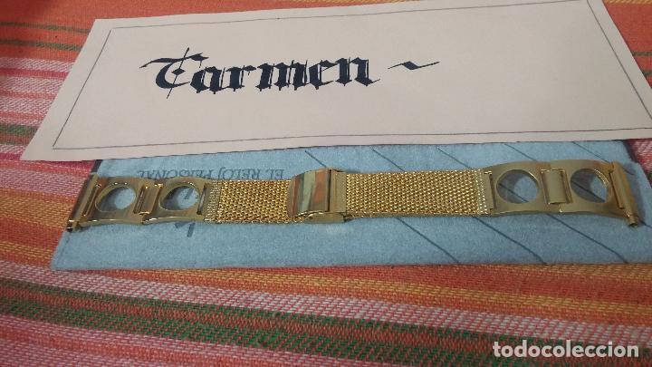 Recambios de relojes: Botito armis dorado estilo drivers, va desde 20mm a 15, stok de relojería antigua bien conservado - Foto 2 - 115584571