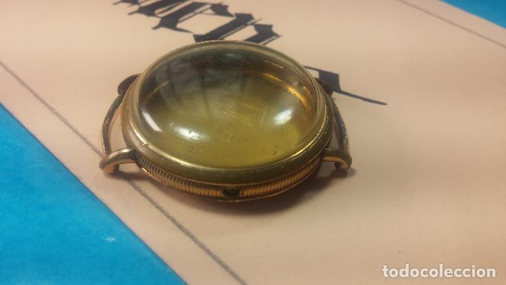 Recambios de relojes: Botita caja de reloj antiguo chapada en oro de 20M, con pasadores fijos, muy botita - Foto 5 - 117389783