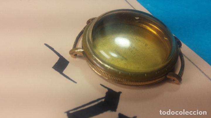 Recambios de relojes: Botita caja de reloj antiguo chapada en oro de 20M, con pasadores fijos, muy botita - Foto 6 - 117389783