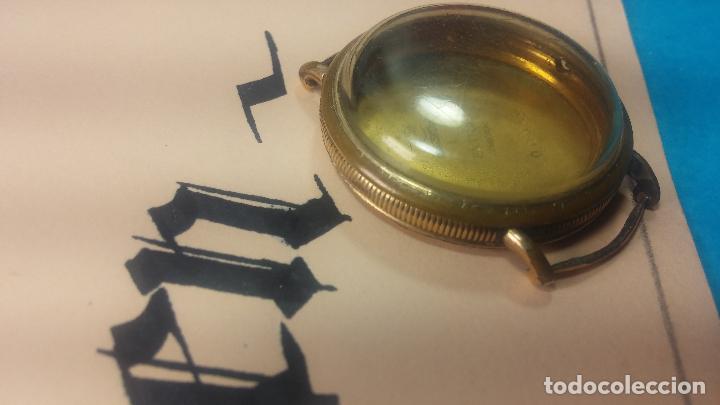 Recambios de relojes: Botita caja de reloj antiguo chapada en oro de 20M, con pasadores fijos, muy botita - Foto 7 - 117389783