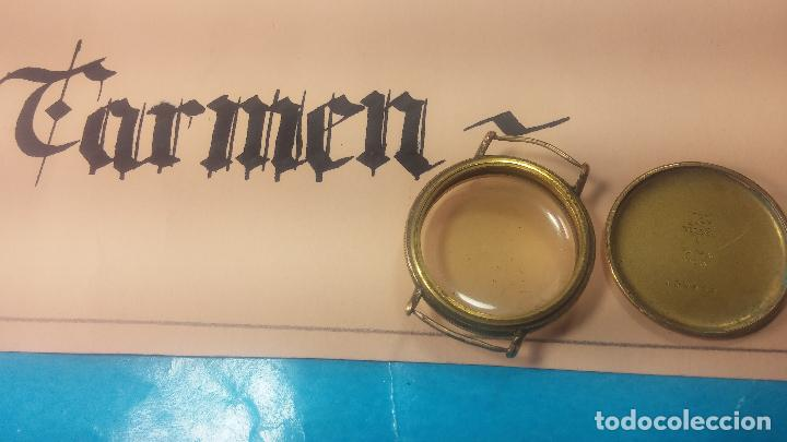 Recambios de relojes: Botita caja de reloj antiguo chapada en oro de 20M, con pasadores fijos, muy botita - Foto 11 - 117389783