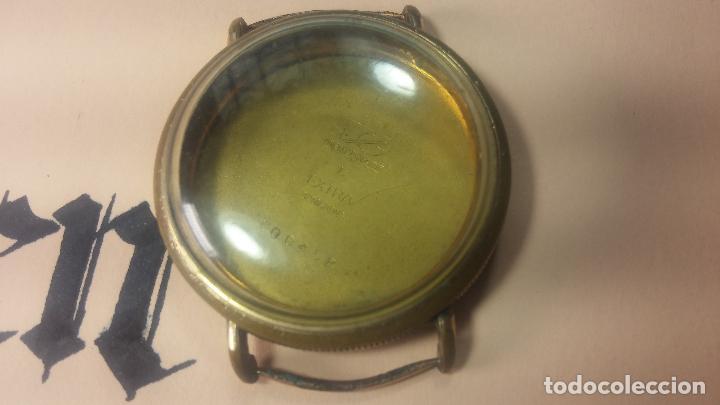 Recambios de relojes: Botita caja de reloj antiguo chapada en oro de 20M, con pasadores fijos, muy botita - Foto 14 - 117389783