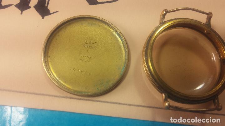 Recambios de relojes: Botita caja de reloj antiguo chapada en oro de 20M, con pasadores fijos, muy botita - Foto 25 - 117389783
