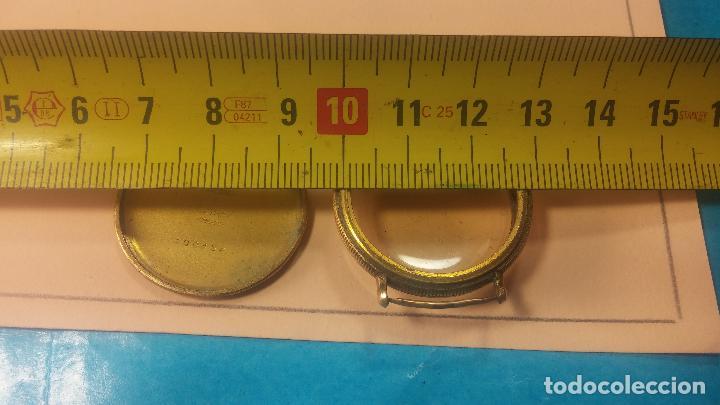 Recambios de relojes: Botita caja de reloj antiguo chapada en oro de 20M, con pasadores fijos, muy botita - Foto 28 - 117389783