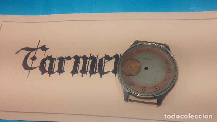Recambios de relojes: Partes reloj VULCAIN, muy antiguas, esfera muy grande bicolor y caja con pasadores fijos - Foto 4 - 117391087