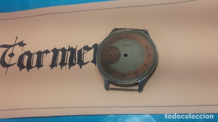 Recambios de relojes: Partes reloj VULCAIN, muy antiguas, esfera muy grande bicolor y caja con pasadores fijos - Foto 5 - 117391087