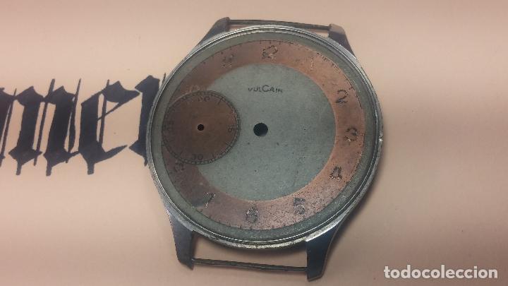 Recambios de relojes: Partes reloj VULCAIN, muy antiguas, esfera muy grande bicolor y caja con pasadores fijos - Foto 7 - 117391087