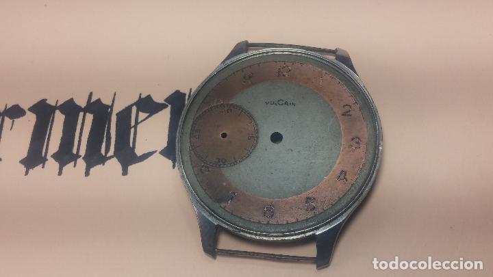 Recambios de relojes: Partes reloj VULCAIN, muy antiguas, esfera muy grande bicolor y caja con pasadores fijos - Foto 8 - 117391087