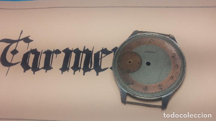 Recambios de relojes: Partes reloj VULCAIN, muy antiguas, esfera muy grande bicolor y caja con pasadores fijos - Foto 9 - 117391087