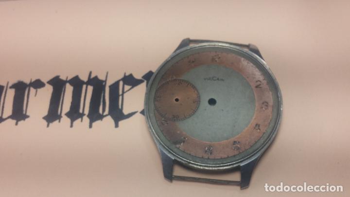Recambios de relojes: Partes reloj VULCAIN, muy antiguas, esfera muy grande bicolor y caja con pasadores fijos - Foto 10 - 117391087
