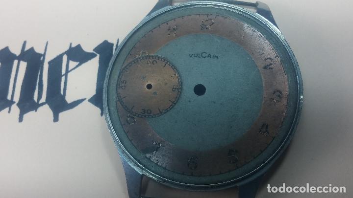 Recambios de relojes: Partes reloj VULCAIN, muy antiguas, esfera muy grande bicolor y caja con pasadores fijos - Foto 11 - 117391087