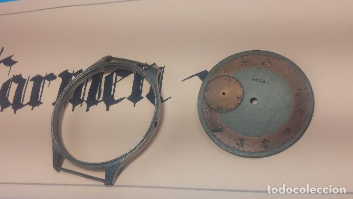 Recambios de relojes: Partes reloj VULCAIN, muy antiguas, esfera muy grande bicolor y caja con pasadores fijos - Foto 12 - 117391087
