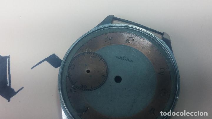 Recambios de relojes: Partes reloj VULCAIN, muy antiguas, esfera muy grande bicolor y caja con pasadores fijos - Foto 13 - 117391087