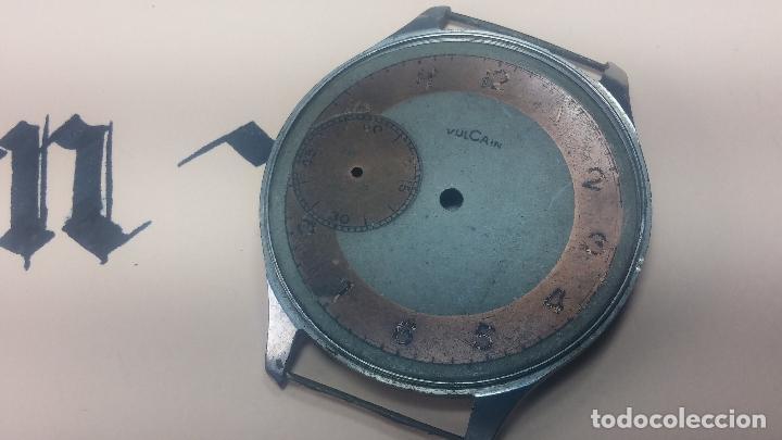 Recambios de relojes: Partes reloj VULCAIN, muy antiguas, esfera muy grande bicolor y caja con pasadores fijos - Foto 14 - 117391087