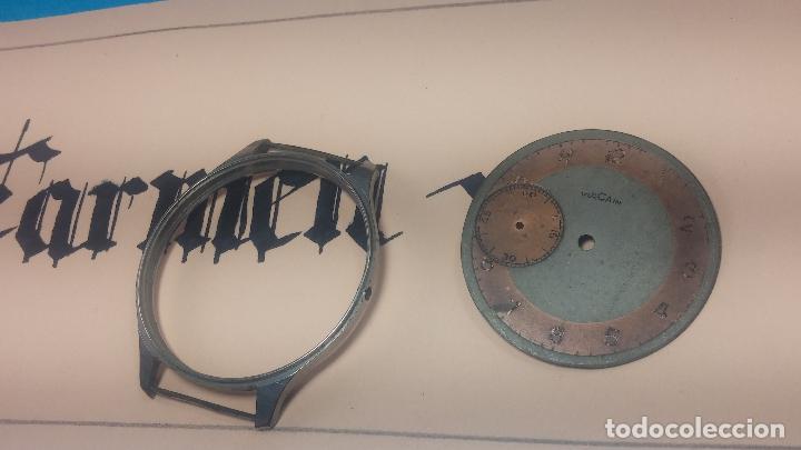 Recambios de relojes: Partes reloj VULCAIN, muy antiguas, esfera muy grande bicolor y caja con pasadores fijos - Foto 15 - 117391087