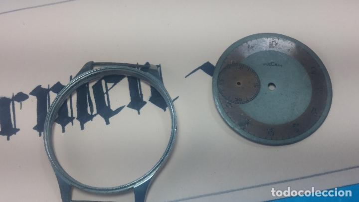 Recambios de relojes: Partes reloj VULCAIN, muy antiguas, esfera muy grande bicolor y caja con pasadores fijos - Foto 16 - 117391087