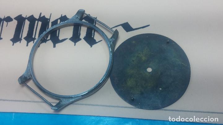 Recambios de relojes: Partes reloj VULCAIN, muy antiguas, esfera muy grande bicolor y caja con pasadores fijos - Foto 18 - 117391087