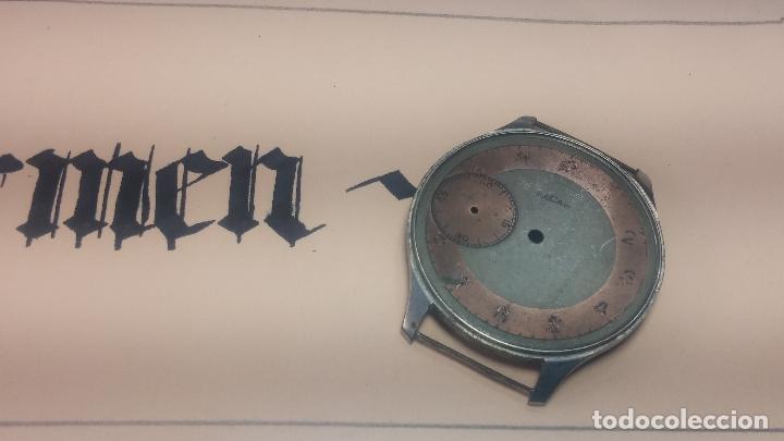 Recambios de relojes: Partes reloj VULCAIN, muy antiguas, esfera muy grande bicolor y caja con pasadores fijos - Foto 20 - 117391087