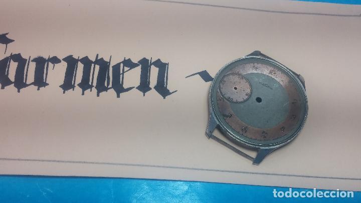 Recambios de relojes: Partes reloj VULCAIN, muy antiguas, esfera muy grande bicolor y caja con pasadores fijos - Foto 21 - 117391087