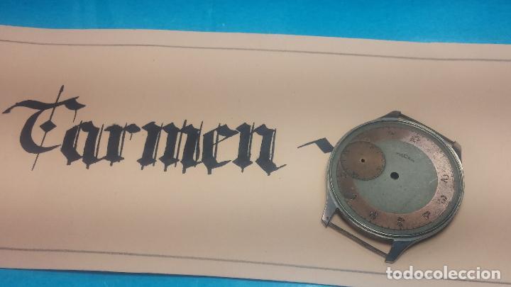 Recambios de relojes: Partes reloj VULCAIN, muy antiguas, esfera muy grande bicolor y caja con pasadores fijos - Foto 23 - 117391087