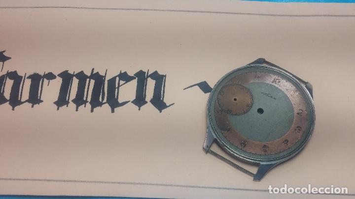 Recambios de relojes: Partes reloj VULCAIN, muy antiguas, esfera muy grande bicolor y caja con pasadores fijos - Foto 24 - 117391087