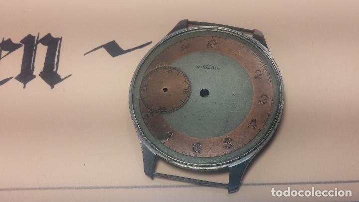 Recambios de relojes: Partes reloj VULCAIN, muy antiguas, esfera muy grande bicolor y caja con pasadores fijos - Foto 25 - 117391087