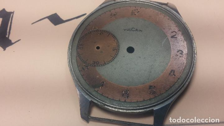 Recambios de relojes: Partes reloj VULCAIN, muy antiguas, esfera muy grande bicolor y caja con pasadores fijos - Foto 26 - 117391087