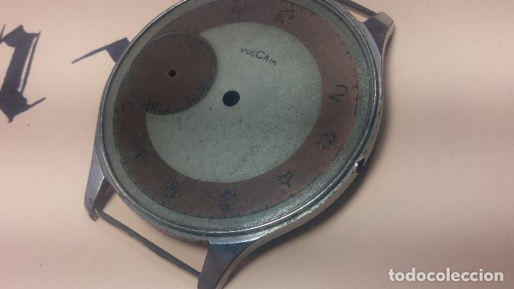Recambios de relojes: Partes reloj VULCAIN, muy antiguas, esfera muy grande bicolor y caja con pasadores fijos - Foto 27 - 117391087