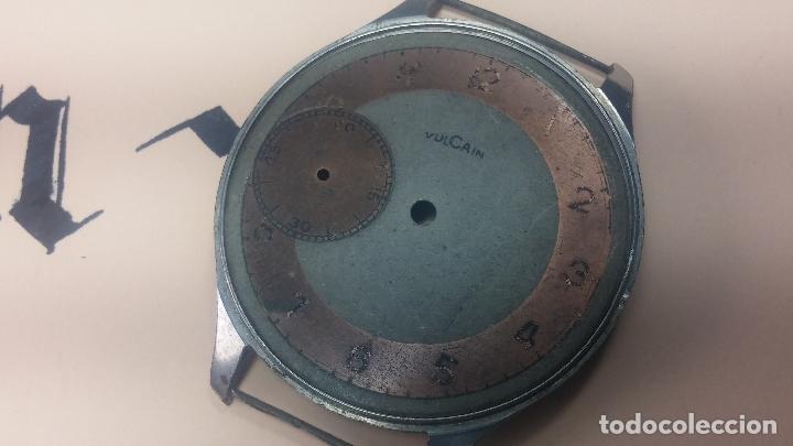 Recambios de relojes: Partes reloj VULCAIN, muy antiguas, esfera muy grande bicolor y caja con pasadores fijos - Foto 28 - 117391087