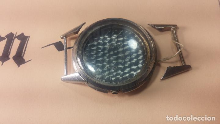 Recambios de relojes: Caja de reloj de caballero Longines, con su cristal, tapa, las patas de cogidas están despegadas - Foto 3 - 117396503