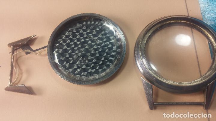 Recambios de relojes: Caja de reloj de caballero Longines, con su cristal, tapa, las patas de cogidas están despegadas - Foto 9 - 117396503