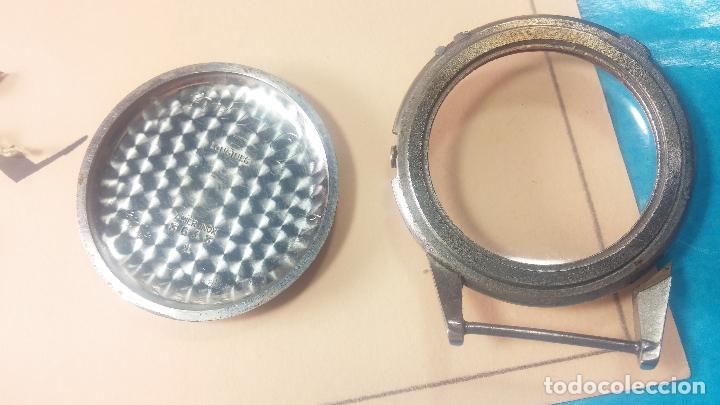 Recambios de relojes: Caja de reloj de caballero Longines, con su cristal, tapa, las patas de cogidas están despegadas - Foto 13 - 117396503
